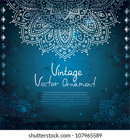 Blue Vintage background with  Indian Ornament
