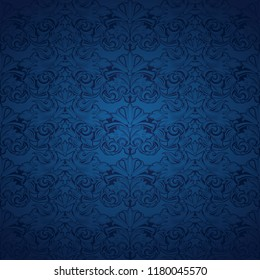 blue vintage background , royal with classic Baroque pattern, Rococo with darkened edges background(card, invitation, banner). Square format