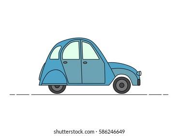 Blue vintage car. Cartoon style. Clild. Simple.