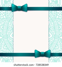 Blue vintage greeting card template with bow and ribbon. Vector wedding invitation design. Anniversary template design for any celebration. Marriage, birthday, christmas, baby shower flyer.