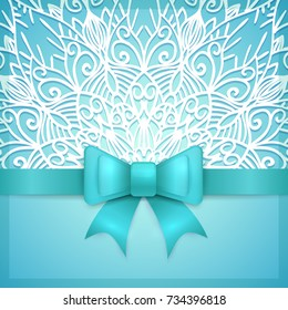 Blue vintage greeting card template with bow ribbon and laces. Vector wedding invitation design. Anniversary template design for any celebration. Marriage, birthday, christmas, baby shower flyer.