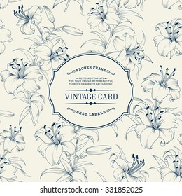 Blue vintage label card. Invitation card template for your holiday. Vector illustration.