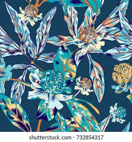 Blue Vintage Vector Pattern