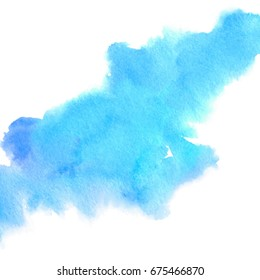 Blue violet color watercolor brush paint paper texture vector isolated splash on white background for banner, poster, wallpaper. Abstract hand drawn colorful stylized water art illustration for design