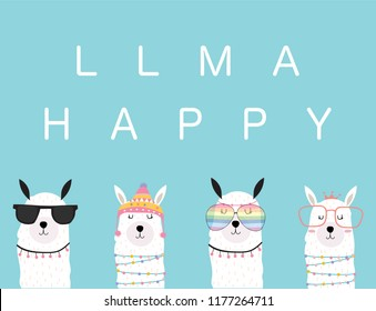 Blue violet hand drawn cute card with llama, glasses in summer.llama happy
