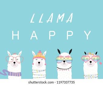 Blue violet hand drawn cute card with llama, glasses,cactus in summer.llama happy
