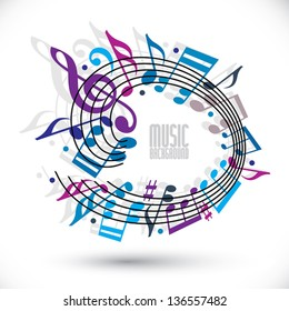 Blue and violet music background with clef and notes, music sheet in rounded frame, musical theme template for your design.