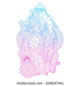Blue, violet and pink gradient colored art, vibrant floral ornament with lotus flower and mandalas in boho ethnic style, isolated on white background, design element, vector illustration.