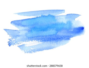 Blue violet watercolor hand drawn isolated paper texture strokes on white background. Wet brush painted smudges abstract vector striped illustration. Design water element for banner, print, template