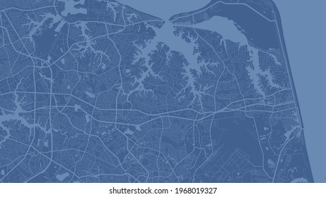 Blue Virginia Beach city area vector background map, streets and water cartography illustration. Widescreen proportion, digital flat design streetmap.