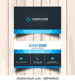 blue visit card with background stripes