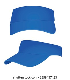 Blue visor cap. vector illustration