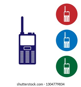 Blue Walkie talkie icon isolated on white background. Portable radio transmitter icon. Radio transceiver sign. Set color icon in circle buttons. Vector Illustration