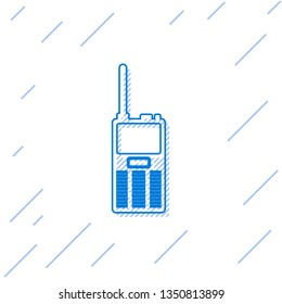 Blue Walkie talkie line icon isolated on white background. Portable radio transmitter icon. Radio transceiver sign. Vector Illustration