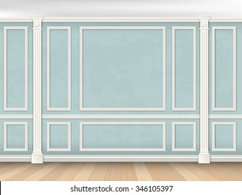 Blue wall interior in classical style with pilasters and moldings. Architectural background. (The color of the walls can be easily changed)
