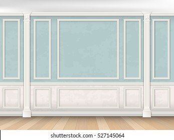 Blue wall interior in classical style with pilasters, moldings and white panel. Architectural background.