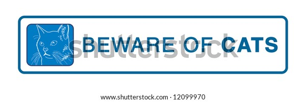 Blue warning plate - Beware of cats