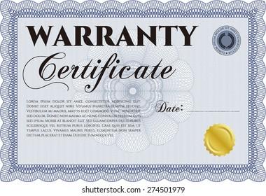 Blue warranty certificate