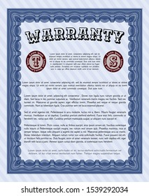 Blue Warranty Certificate template. Retro design. Vector illustration. With great quality guilloche pattern.