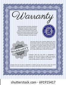 Blue Warranty. Cordial design. Printer friendly. Customizable, Easy to edit and change colors.