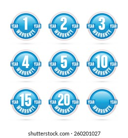 Blue warranty round labels collection