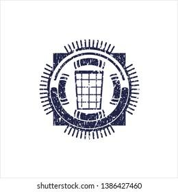 Blue wastepaper basket icon inside distressed grunge seal