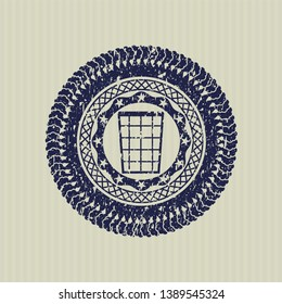 Blue wastepaper basket icon inside distress rubber stamp with grunge texture