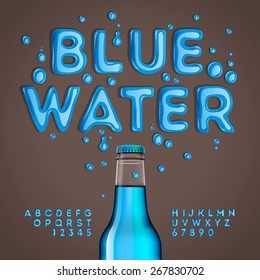 Blue water alphabet and numbers, vector illustration.