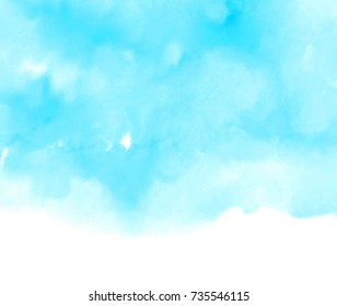 Blue water blur stylized vector brush paint art card for decoration, greeting, banner. Watercolor cold color hand drawn paper texture dye wash background for poster, wallpaper, cover
