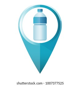 Blue Water bottle map marker symbol flat design vector illustration isolate with a white background.