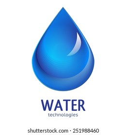 Blue Water drop abstract vector logo design template. Waterdrop creative shape such as logotype.