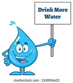 Blue Water Drop Cartoon Mascot Character Holding Up A Sign With Text Drink More Water. Vector Illustration Isolated On White Background