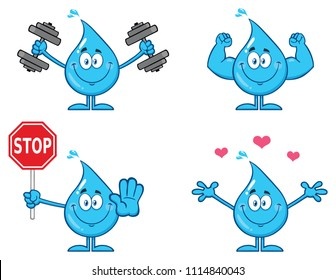 Blue Water Drop Cartoon Mascot Character 2. Vector Collection Isolated On White Background