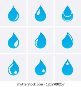 Blue water drop Icons. Vector set