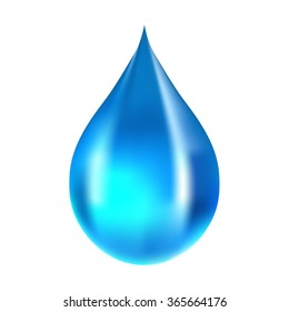 Blue water drop isolated on white background