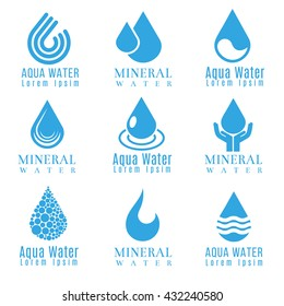 Blue water drop logos, icons vector set. Drop liquid logo and mineral water aqua drop illustration
