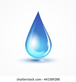 Blue water drop on white