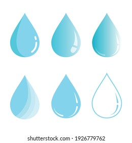 Blue water drops vector icons set isolated on white background. Vector design elements in different styles of water drops.