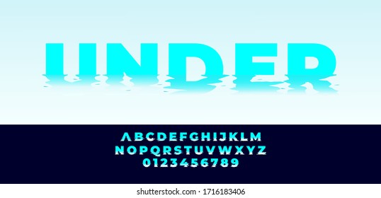 Blue water effect font style design template