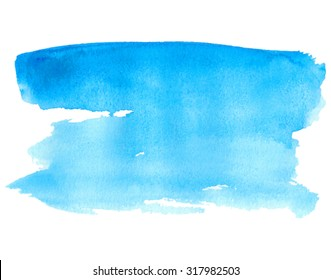 Blue water isolated spot on white background. Watercolor hand drawn blue illustration. Abstract wet brush painted paper texture. Design artistic element for banner, print, template, cover, decoration