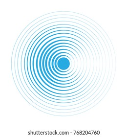 Blue Water rings. Sound circle wave effect vector.