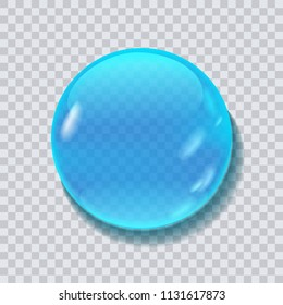 Blue water round drop vector illustration isolated on transparent bacground