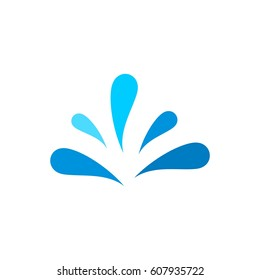 Blue water splash logo template