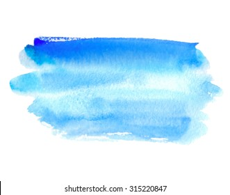 Blue water striped watercolor hand drawn isolated stain on white background. Wet brush painted strokes vector illustration. Abstract design paper texture element for decoration, scrapbook, template