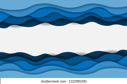 Blue water waves layered art paper card. 3D origami design. Vector illustration