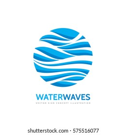 Blue water waves - vector business logo template concept illustration. Abstract creative sign. Design element.