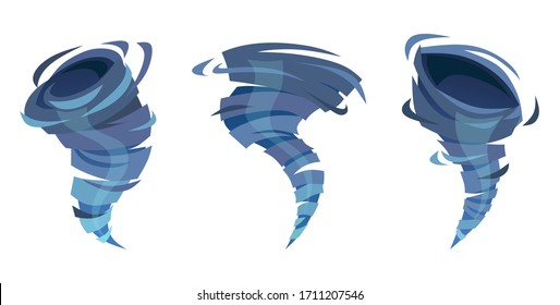 Blue water whirlwind swirling and moving upward set vector illustration. Rotating twister flat style design. Tornado of liquid collection. Isolated on white background