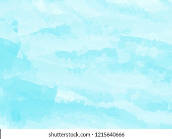 Blue watercolor abstract background. Clouds, sky, sea waves. Vector illustration.