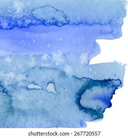 Blue watercolor background. Vector illustration
