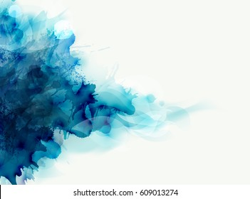 Blue watercolor big blot spread to the light background. Abstract vector composition for the elegant design.